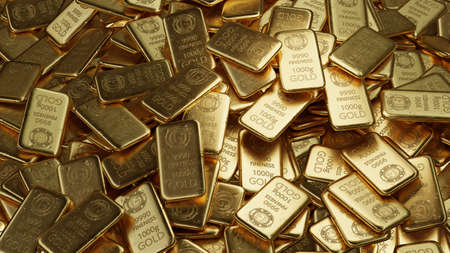 stack of  shiny gold bars, precious metal as an investment concept,  3d illustration 免版税图像 - 153180433