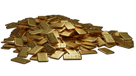 stack of  shiny gold bars on white background with clipping path, 3d illustration 免版税图像