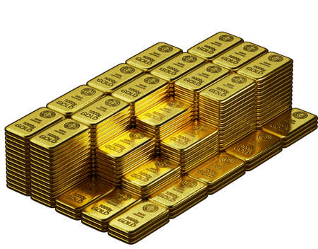 stack of  shiny gold bars on white background with clipping path, 3d illustration 免版税图像 - 153258916