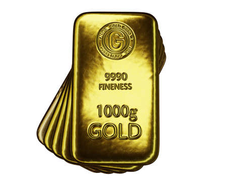 stack of  shiny gold bars on white background with clipping path, 3d illustration 免版税图像 - 153258917