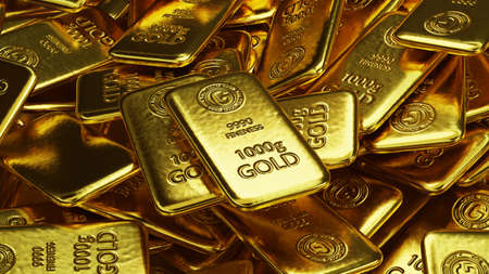 stack of  shiny gold bars, precious metal as an investment concept,  3d illustration 免版税图像 - 153162808