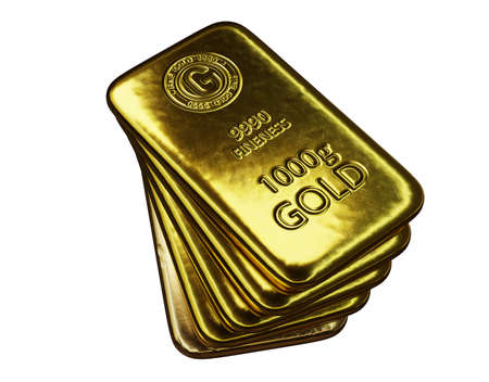 stack of  shiny gold bars on white background with clipping path, 3d illustration 免版税图像 - 153258918