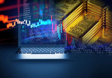 stack of  shiny gold bars on financial gold price graph  3d illustration 免版税图像 - 153568282