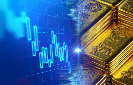 stack of  shiny gold bars on financial gold price graph  3d illustration