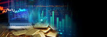 banner of  gold bars on financial gold price graph  3d illustration
