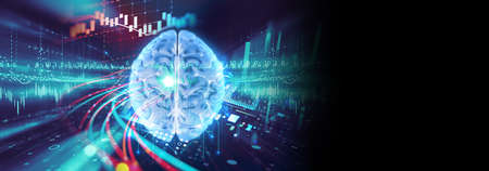 Conceptual background of Artificial intelligence and deep learning concept, human brain  on technology element ,3d illustration banner