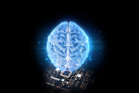 3d rendering of artificial brain and  microchip ,concept of neural network and relationship between human brain and microchip. 免版税图像