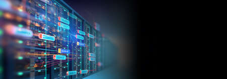 3D illustration banner  of server room in data center full of telecommunication equipment,concept of big data storage and  cloud hosting technology