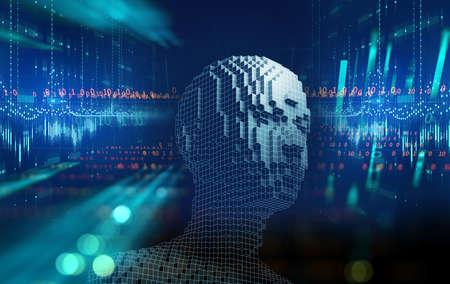 Conceptual illustration of Artificial intelligence human form , 3d illustration 免版税图像 - 155222388