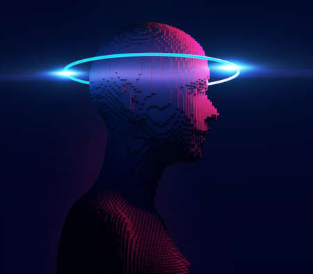 Conceptual illustration of Artificial intelligence human form , 3d illustration