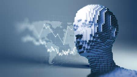 Conceptual illustration of Artificial intelligence human form , 3d illustration 免版税图像 - 155608812