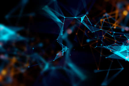 defocus dots and lines connection on abstract technology background.3d illustration