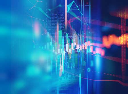 financial graph on technology abstract background represent financial crisis,financial meltdown 免版税图像 - 158319649