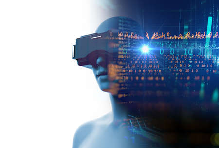 3d rendering of virtual human in VR headset on futuristic technology and programming languages background represent virtual reality technology . 免版税图像 - 158586780
