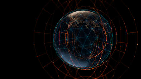 3d rendering of  earth on hi-tech futuristic technology abstract background ,concept of modern data science.