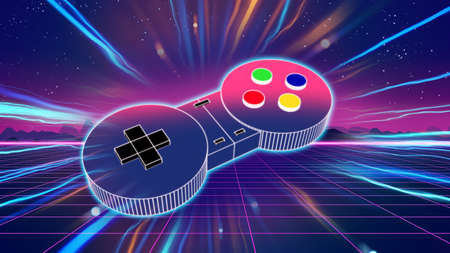 retro game controller on colorful background 3d illustration,e-sport and online gaming concept 免版税图像