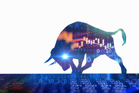 silhouette form of bull on financial stock market graph represent stock market rising or uptrend investment 3d illustration 免版税图像