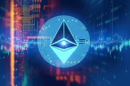 ethereum network icon on abstract technology illustration that depict virtual currencies and 