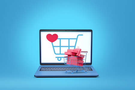 laptop computer with online shop application display  3d illustration