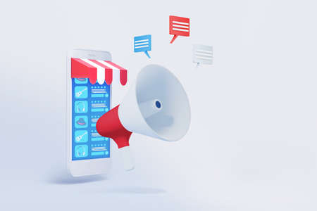 mobile phone with shopping application and megaphone 3d illustration , concept of marketing strategy for online shop 免版税图像