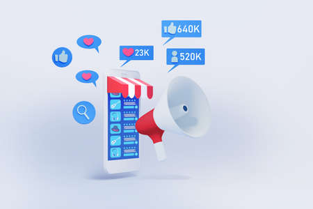 mobile phone with shopping application and social media icon  3d illustration , concept of marketing strategy for online shop