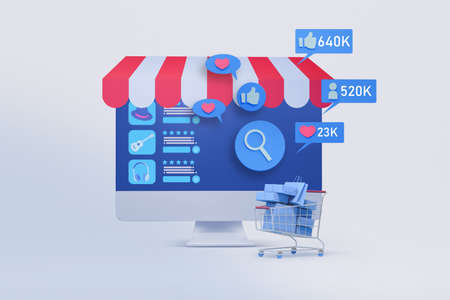 computer monitor with shopping application and social media icon  3d illustration , concept of marketing strategy for online shop 免版税图像