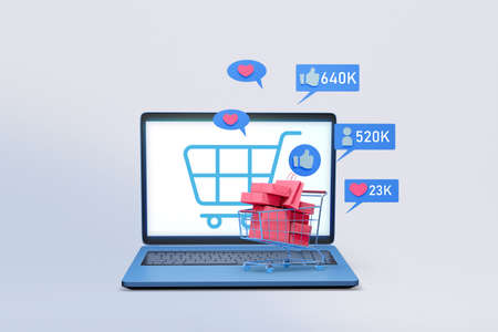 computer notebook with shopping application and social media icon  3d illustration , concept of marketing strategy for online shop