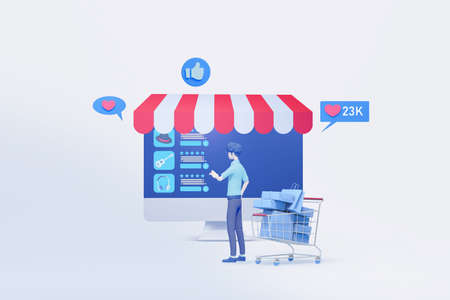 man shopping with online interface application display  3d illustration,concept of online shopping and digital marketing