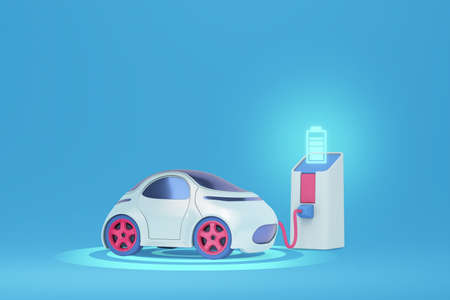 smart ev car charging at charger station with plug in cable 3d illustration
