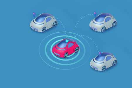 automatic smart ev car communicate with orther car ,concept of driver assistance system,driverless car.3d illustration