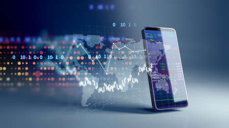 financial graph and technology element on mobile phone 3d rendering  represent Blockchain and  mobile Financial Investment . 免版税图像