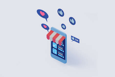 smart phone with online shop application display  3d illustration,concept of online shopping and digital marketing 免版税图像
