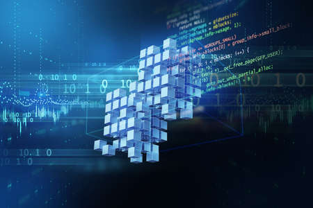 Block chain network  concept on technology background 3d illustration