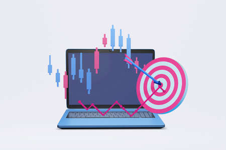 computer notebook with target point and financial graph 3d illustration , concept of marketing strategy for online shop