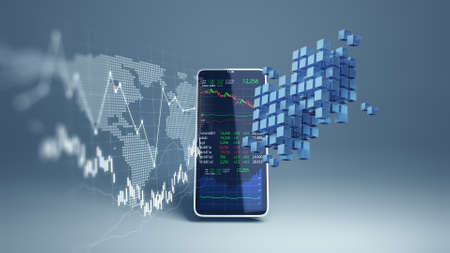 financial graph and technology element on mobile phone 3d rendering  represent Blockchain and  mobile Financial Investment