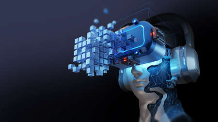Conceptual background of Artificial intelligence robot , 3d illustration