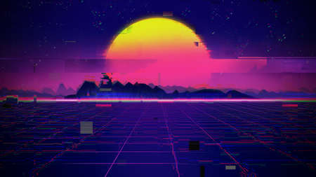 Abstract retro Glitch background and error signal 3d illustration