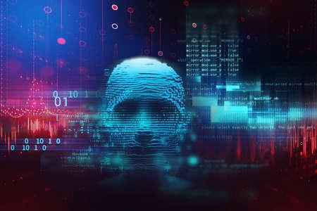 Conceptual illustration of Artificial intelligence human form , 3d illustration
