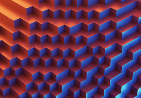 abstract colorful cubic  3d illustration for use as wallpaper for UI design or phone. 免版税图像