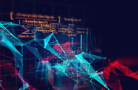dots and lines connection on abstract technology background.3d illustration 免版税图像