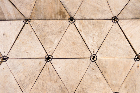 puzzle pieces: Abstract modern wooden triangles, lines and dots Stock Photo