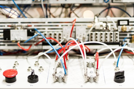 compressed air: Modern and hi-tech microcontrollers for pneumatic pistons Stock Photo