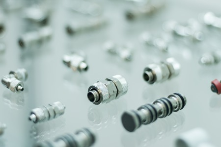 technical university: Detailed metal pneumatic adapters for pneumatic pistons for heavy industry
