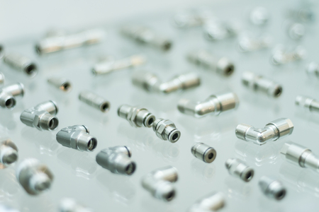 Detailed metal pneumatic adapters for pneumatic pistons for heavy industry