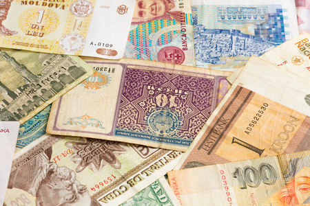 international money: Colorful international money from all world pattern  background