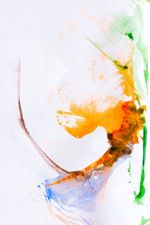 Abstract colorful spot paint on white paper