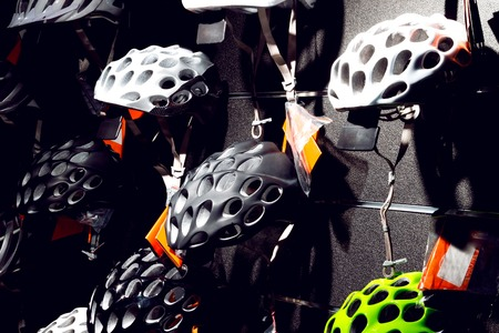 protective helmets: Protective helmets for active people who love cycling Stock Photo