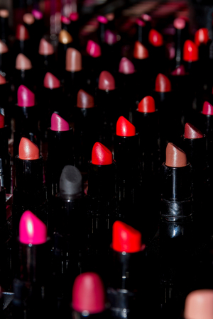 lips glow: Line of colorful natural lipstick. New cosmetic. Make-up Stock Photo