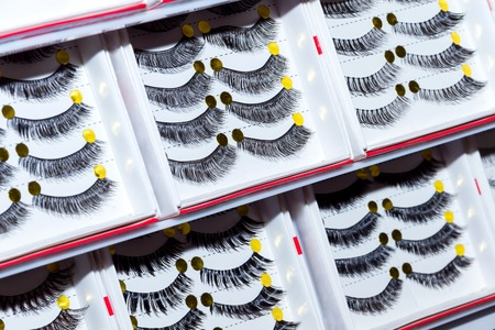 abject: Line of plastic eyelashes. Professional make-up. Beauty salon. Cosmetic