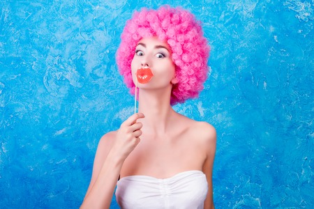 curled lip: Young girl in role. Colorful picture of female animator Stock Photo